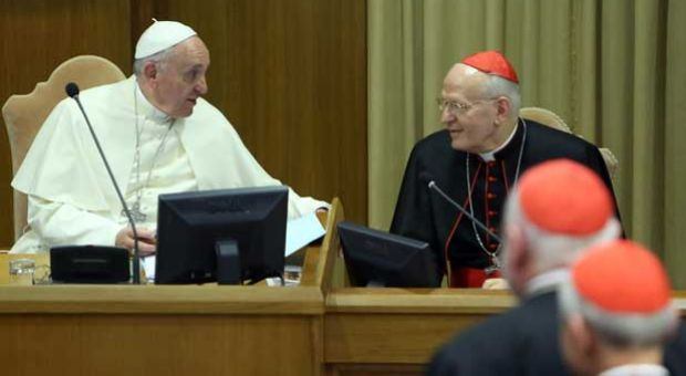 Pope Francis chats with Ungarian cardinal and archbisop of Budapest cardinal Peter Erdo (R) as he arrives at the Synod Hall for the Synod on the themes of family on October 6, 2014 in Vatican City, Vatican.