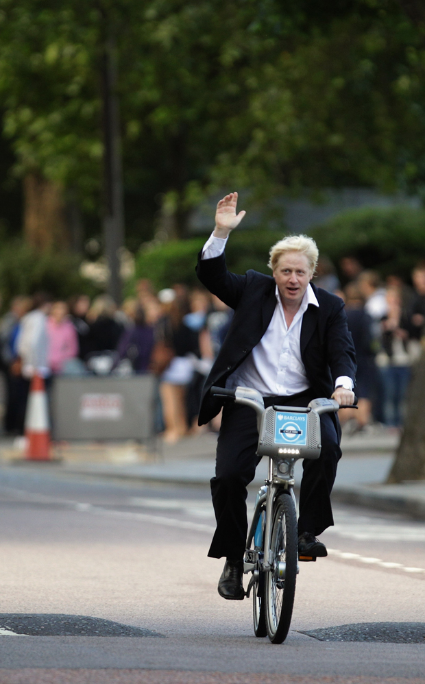 Mayor of London Boris Johnson arrives for a photocall at the launch of London's first ever cycle hire scheme  in London, England.