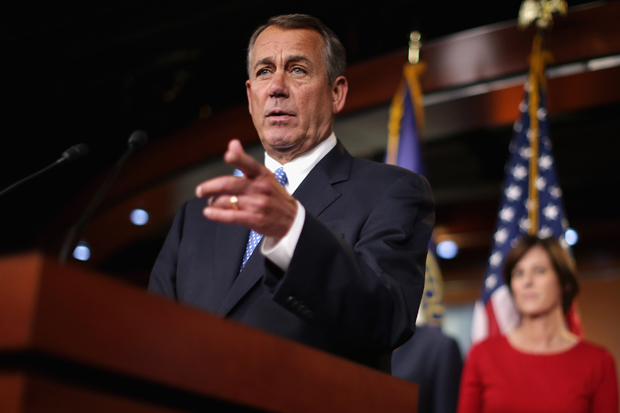 Speaker of the House John Boehner (R-OH) holds a news conference Nov. 13 with the newly-elected members of the House GOP leadership in Washington, D.C. Boehner announced that the House will continue to push back against President Barack Obama's executive actions.