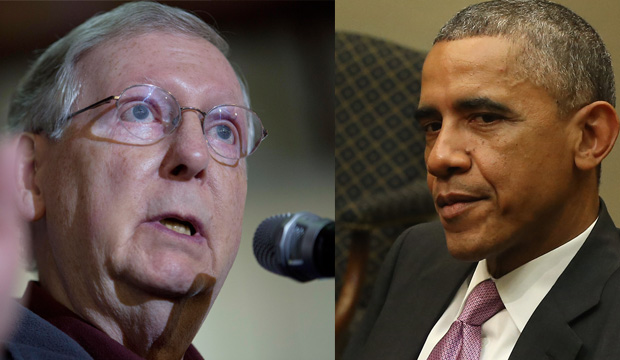 Sen. Mitch McConnell (R-Ky.) and President Barack Obama.