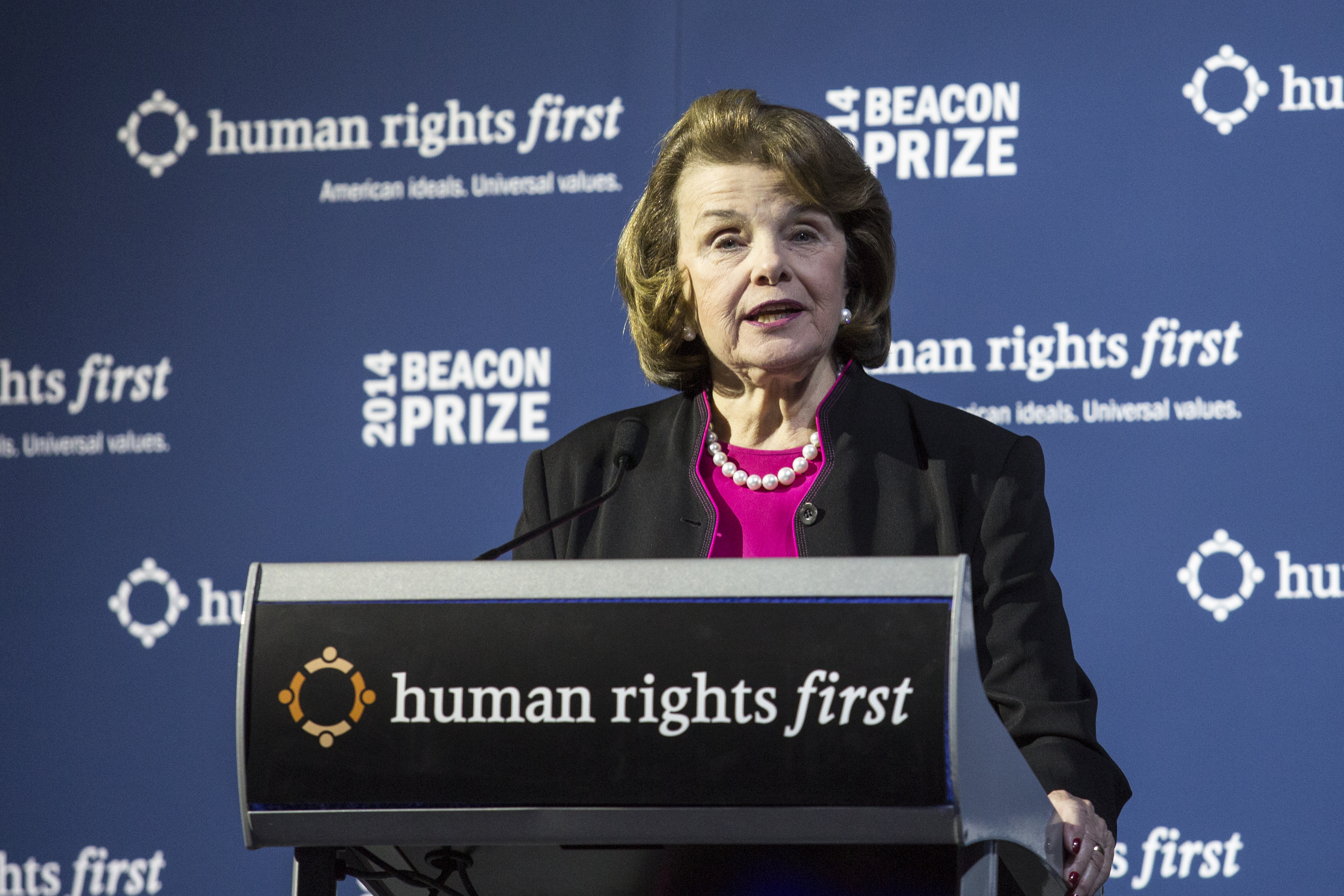 Sen. Dianne Feinstein (D-CA) delivers remarks about the Senate Intelligence Committee's report on the Central Intelligence Agency's detention and interrogation program during a gala event hosted by the  Human Rights First organization, at the Newseum, December 10, 2014 in Washington, D.C.