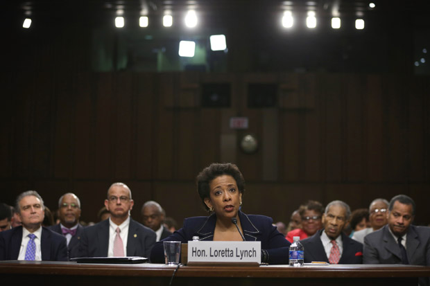 U.S. Attorney for the Eastern District of New York Loretta Lynch testifies during a confirmation hearing before Senate Judiciary Committee on January 28, 2015 on Capitol Hill in Washington, D.C.