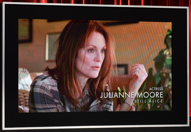 An image of Julianne Moore in her role in the film 'Still Alice' at the 87th Academy Awards Nominations Announcement at the AMPAS Samuel Goldwyn Theater on January 15, 2015 in Beverly Hills, California.