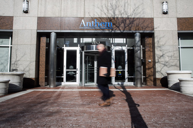 An exterior view of the Anthem Health Insurance headquarters on February 5, 2015 in Indianapolis, Indiana. About 80 million company records were accessed in what may be among the largest healthcare data breaches to date.