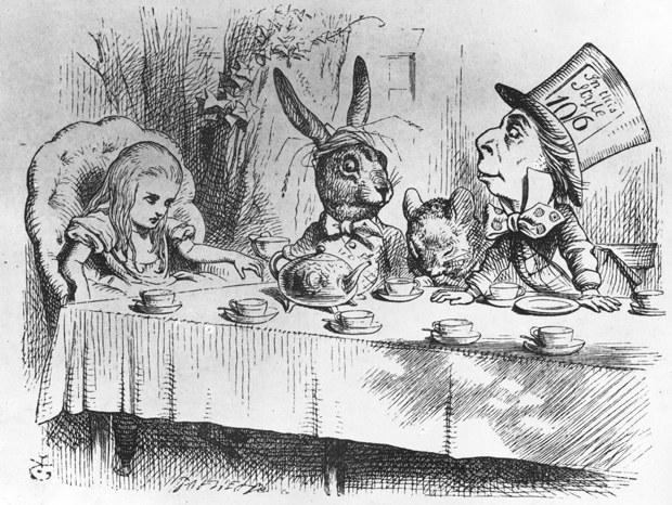 Alice, the March Hare, the dormouse and the mad hatter at the latter's tea party. From 'Alice in Wonderland' by Lewis Carroll, 1st Edition, published in 1865.