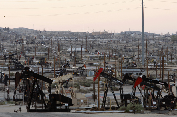Pump jacks and wells are seen in an oil field on the Monterey Shale formation where gas and oil extraction using hydraulic fracturing, or fracking, is common.