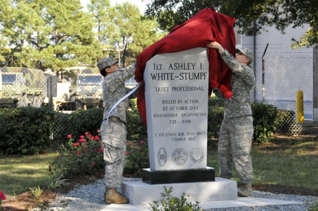 This 2013 photo shows the unveiling of a monument in memory of 1st Lt. Ashley White-Stumpf at the Goldsboro National Guard Armory in North Carolina.