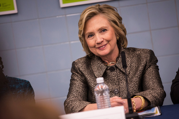 Former Secretary of State Hillary Clinton attends a round table conversation and press conference April 1 in New York City.