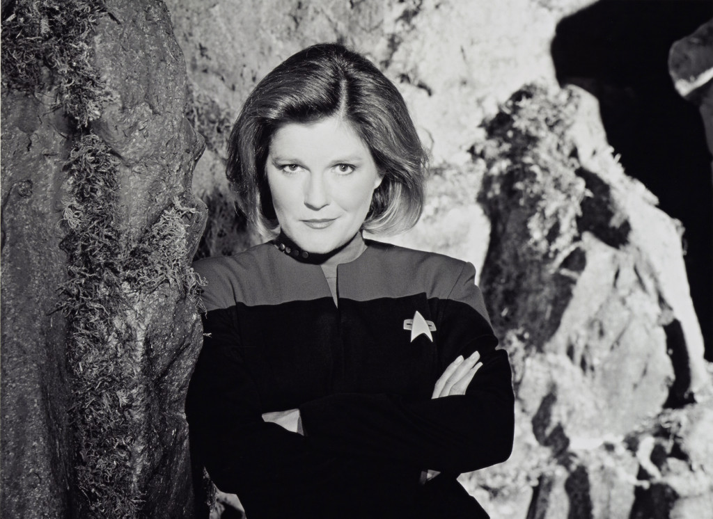 Kate Mulgrew as Captain Janeway on Star Trek.