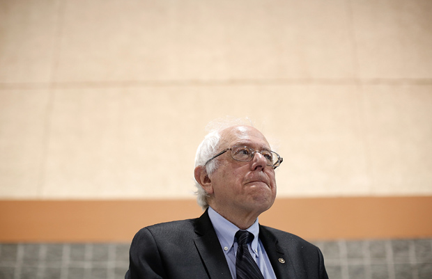 Democratic presidential candidate Sen. Bernie Sanders (R) (I-VT) waits to deliver his remarks April 25 at the South Carolina Democratic Party state convention in Columbia, South Carolina.
