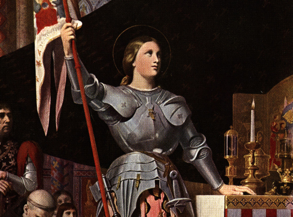"This picture shows Saint Joan of Arc (1412 - 1431), known as ""the Maid of Orleans,"" at Reims Cathedral, circa 1429. Her inner voices moved her to ask the dauphin (later Charles VII of France) to let her fight the English in 1428."
