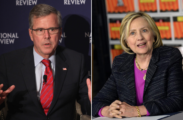 Jeb Bush and Hillary Clinton at events this spring.