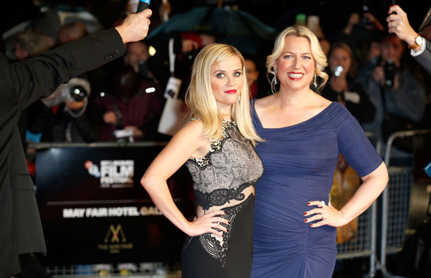 "Reese Witherspoon and Cheryl Strayed attend The May Fair Hotel Gala red carpet  for ""Wild"" — a film written, produced by and starring women — during the 58th BFI London Film Festival."