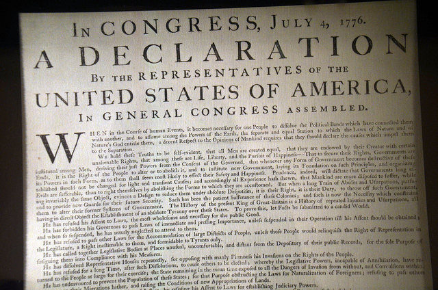 The Declaration of Independence on display at Independence Hall in Philadelphia.