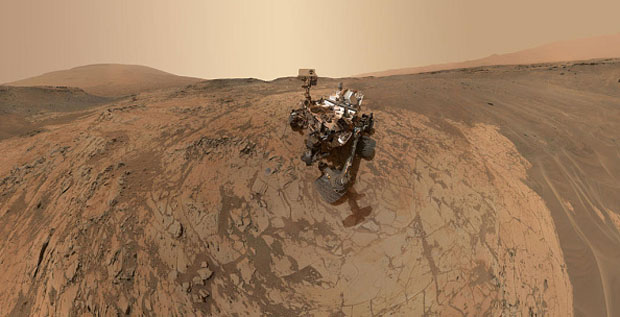 "In this handout provided by NASA/JPL-Caltech/MSSS, a self-portrait of NASA's Curiosity Mars rover shows the vehicle at the ""Mojave"" site, where its drill collected the mission's second taste of Mount Sharp."