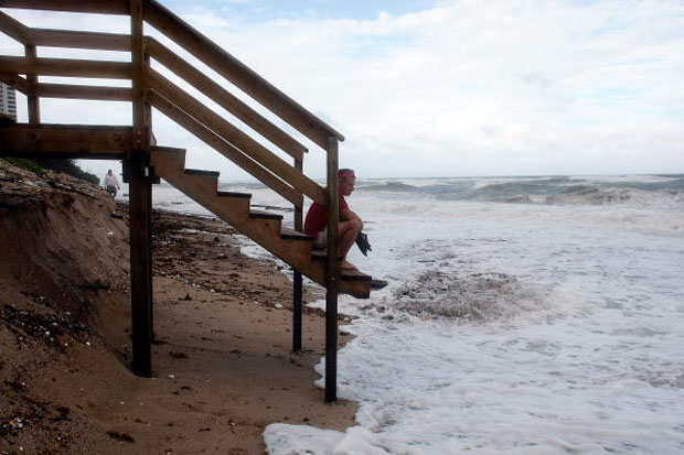 Heavy beach erosion on Singer Island, Florida.