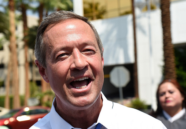 Democratic presidential candidate Martin O'Malley speaks Aug. 19 while standing in front of the Trump International Hotel & Tower in Las Vegas, Nevada.