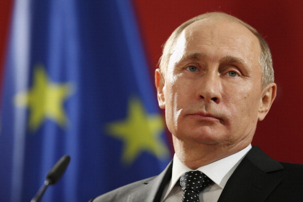 This 2013 photo shows Russian President Vladimir Putin speaking to the media in Hanover, Germany.