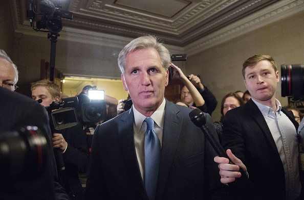 House Majority Leader Kevin McCarthy, R-Calif., walks out of the speaker nominee election on Oct. 8 after dropping out of the race on Capitol Hill. McCarthy had been considered the frontrunner for the speakership.