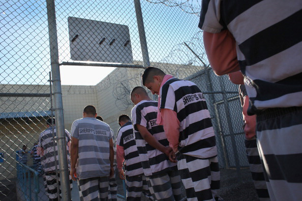 Inmates line up for breakfast at the Maricopa County Tent City jail in Phoenix, Arizona.