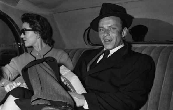 Sinatra and Ava Gardner arriving in London in April 1956.