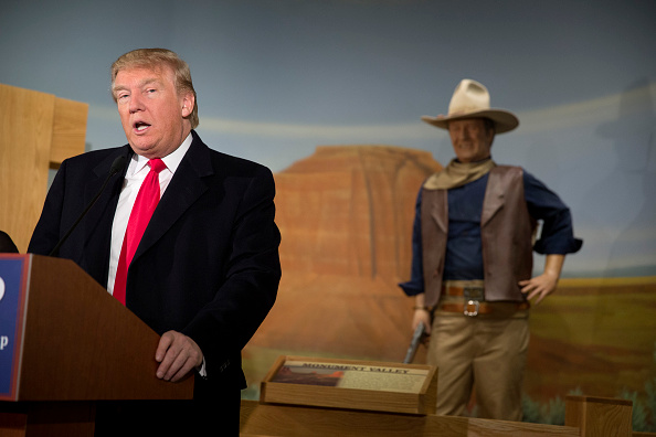 Trump speaks at the John Wayne Birthplace Museum on Jan. 19 in Winterset, Iowa. The Iowa caucuses are on Feb. 1.
