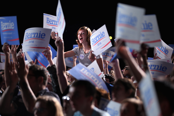 Thousands of supporters cheer while listening to Democratic presidential candidate Sen. Bernie Sanders (I-VT) address a campaign rally at the Prince William County Fairground September 14 in Manassas, Virginia.