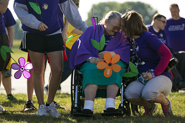 Families come together for the Springfield, Illinois Walk to End Alzheimer's in 2013.