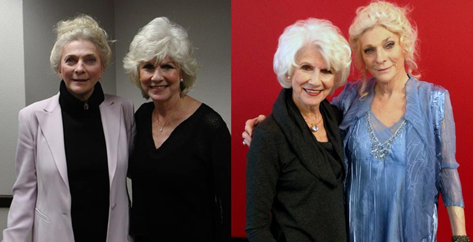 Diane with singer-songwriter Judy Collins in 2003 (left) and 2015 (right).