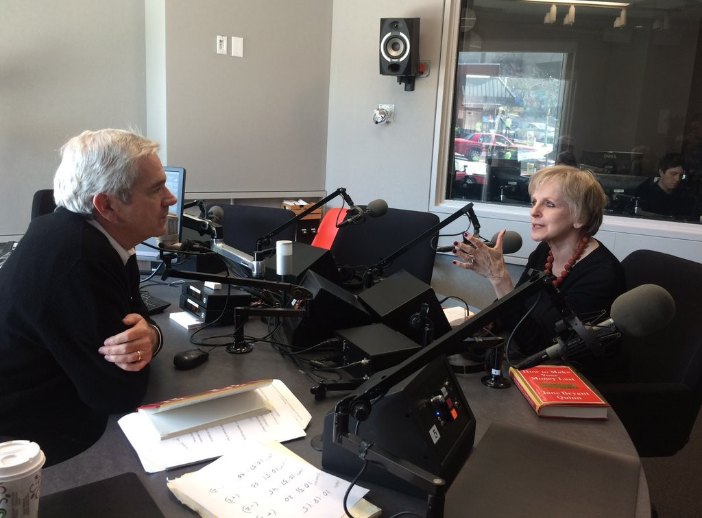Guest host Tom Gjelten and personal finance expert Jane Bryant Quinn in our studios during our March 8 show.