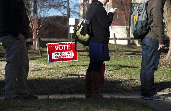 Voters line up to vote during the Super Tuesday primary voting at a polling place in Arlington, Virginia, March 1.