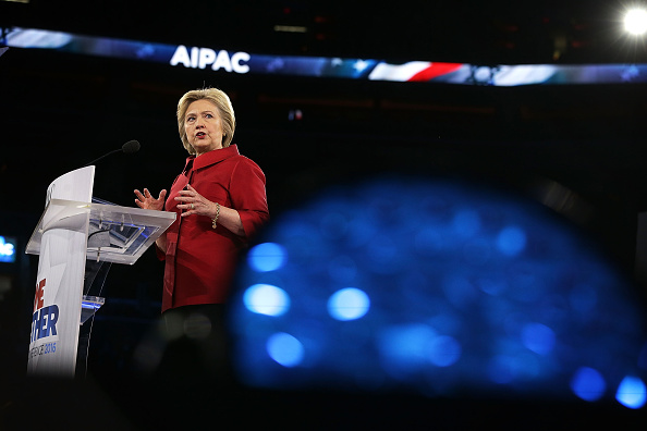 Democratic presidential candidate Hillary Clinton addresses the annual policy conference of the American Israel Public Affairs Committee (AIPAC) March 21 in Washington, DC. Every presidential candidate except for Bernie Sanders will speak at the conference.