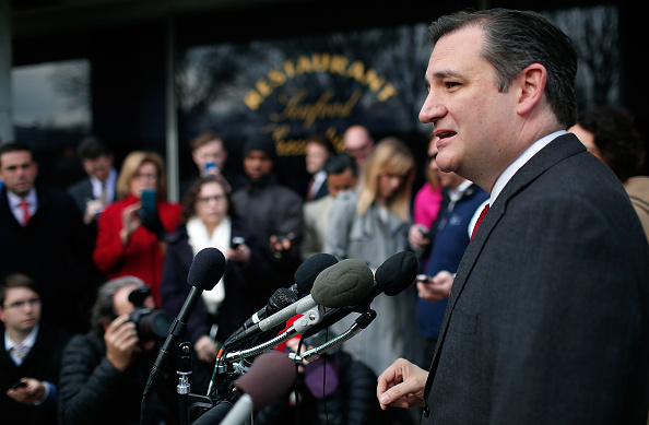 Republican presidential candidate Sen. Ted Cruz (R-TX) addresses the bombings in Brussels during remarks March 22 in Washington, DC.