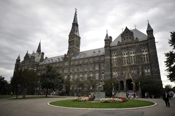 Healy Hall, the flagship building of Georgetown University's main campus in Washington, DC, is seen on September 30, 2011.