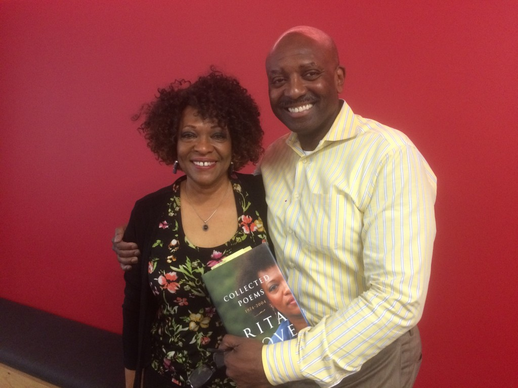 Rita Dove and guest host Derek McGinty in our studios after their conversation.