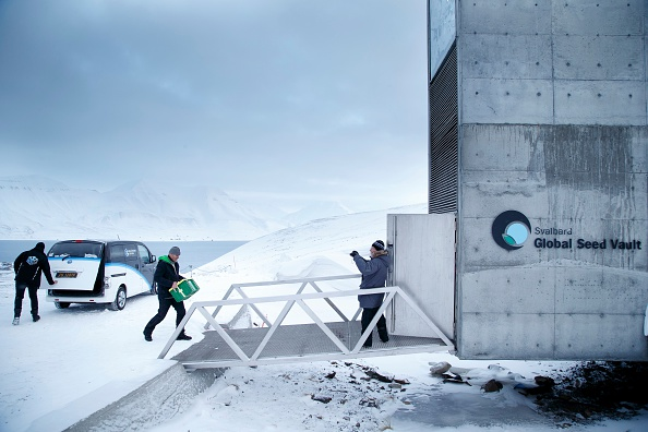 A man carries one of the newly arrived boxes containing seeds from Japan and USA into the international gene bank Svalbard Global Seed Vault (SGSV), outside Longyearbyen on Spitsbergen, Norway, on March 1.