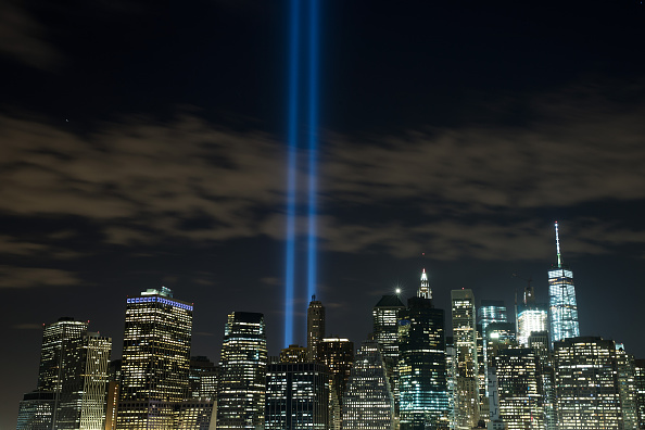The 'Tribute in Light' rises from the Lower Manhattan skyline Sept. 7. The lights were being tested in advance of the 15th anniversary of the Sept. 11 terrorist attacks.