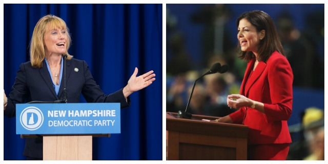 Democratic Governor Maggie Hassan (left) is running against incumbent Republican Senator Kelly Ayotte (right) in a tight race in New Hampshire.