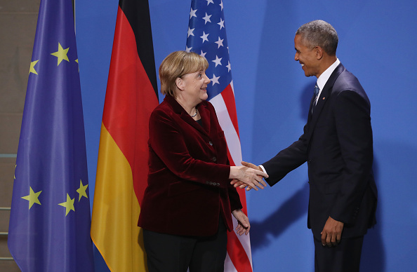 German Chancellor Angela Merkel and President Barack Obama shake hands after speaking to the media following talks in Berlin, Germany. President Obama is on his last trip to Europe before he leaves office.