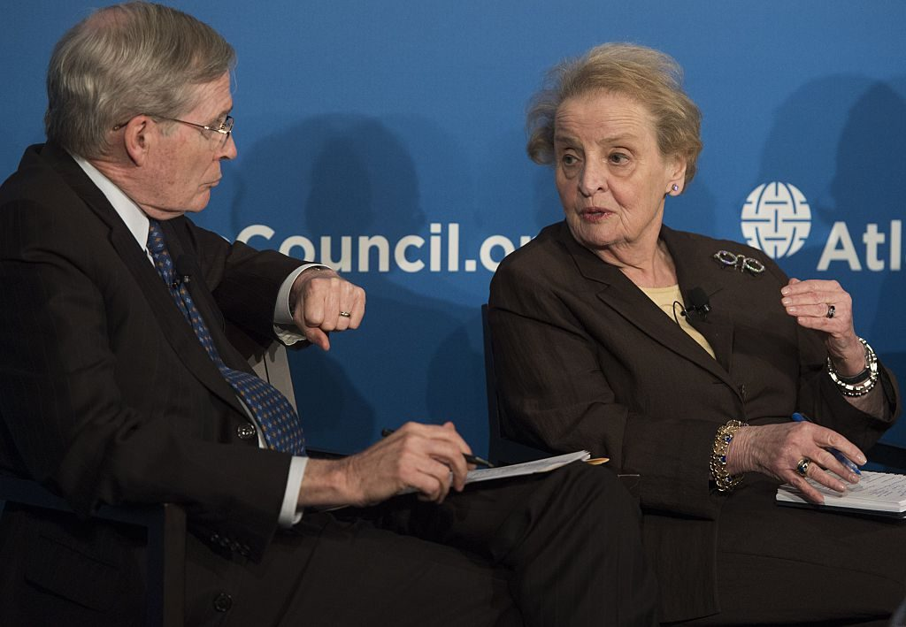 Former US Secretary of State Madeleine Albright speaks alongside former US National Security Adviser Stephen Hadley during the launch of the Middle East Strategy Task Force at the Atlantic Council in Washington, DC, June 4, 2015. AFP PHOTO / SAUL LOEB        (Photo credit should read SAUL LOEB/AFP/Getty Images)