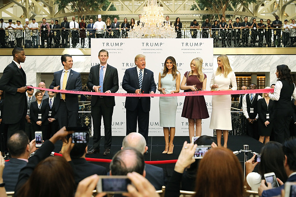 Republican presidential nominee Donald Trump delivers remarks Oct. 26 before a ribbon cutting ceremony at the new Trump International Hotel in Washington, D.C.