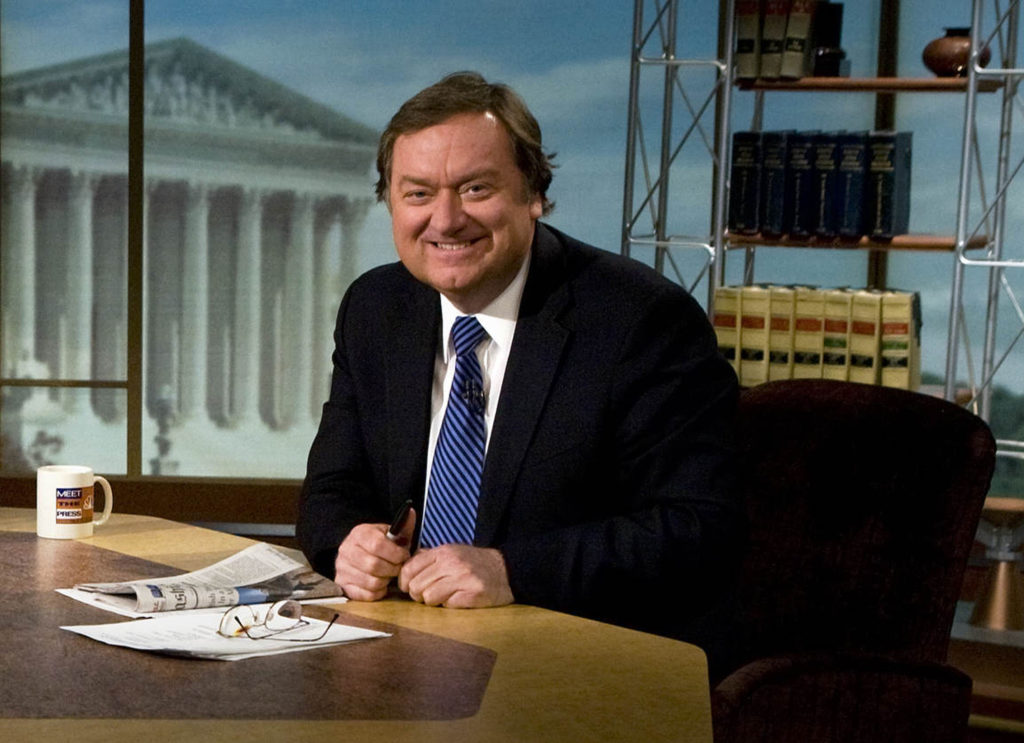 "WASHINGTON - MARCH 30:  (FILE PHOTO) Moderator Tim Russert is seen on the set of ""Meet the Press"" during a taping in this file photo from March 30, 2008 in Washington, DC. Russert, collapsed and died June 13, 2008 while at work in Washington.  (Photo by Brendan Smialowski/Getty Images for Meet the Press)"