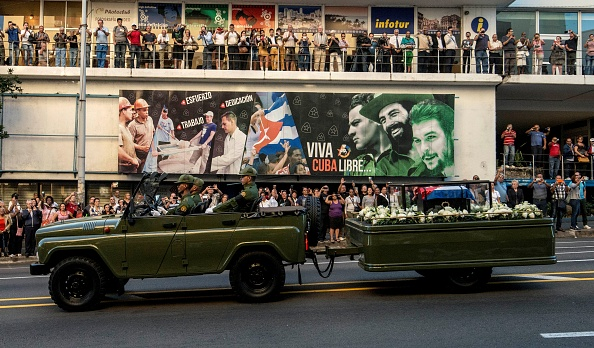 The urn with the ashes of Cuban leader Fidel Castro is seen in Havana starting a four-day journey across Cuba; it will make symbolic stops along the 590-mile trek that will end in the city of Santiago de Cuba over the weekend.