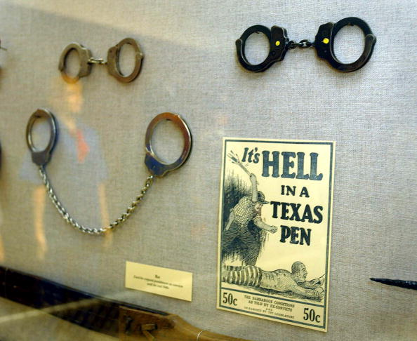 At the Texas Prison Museum in Huntsville, Texas, a display showing prisoner restraints.