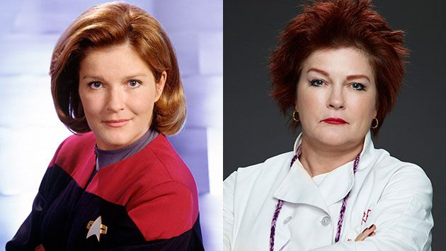 "Left: Kate Mulgrew stars as Captain Kathryn Janeway in ""Star Trek: Voyager."" Her character was the first woman to command a Federation Starship in the more than 30-year history of ""Star Trek."" Right: Mulgrew stars as ""Red"" in the Netflix series ""Orange is the New Black."" The show's fifth season will air in 2017."