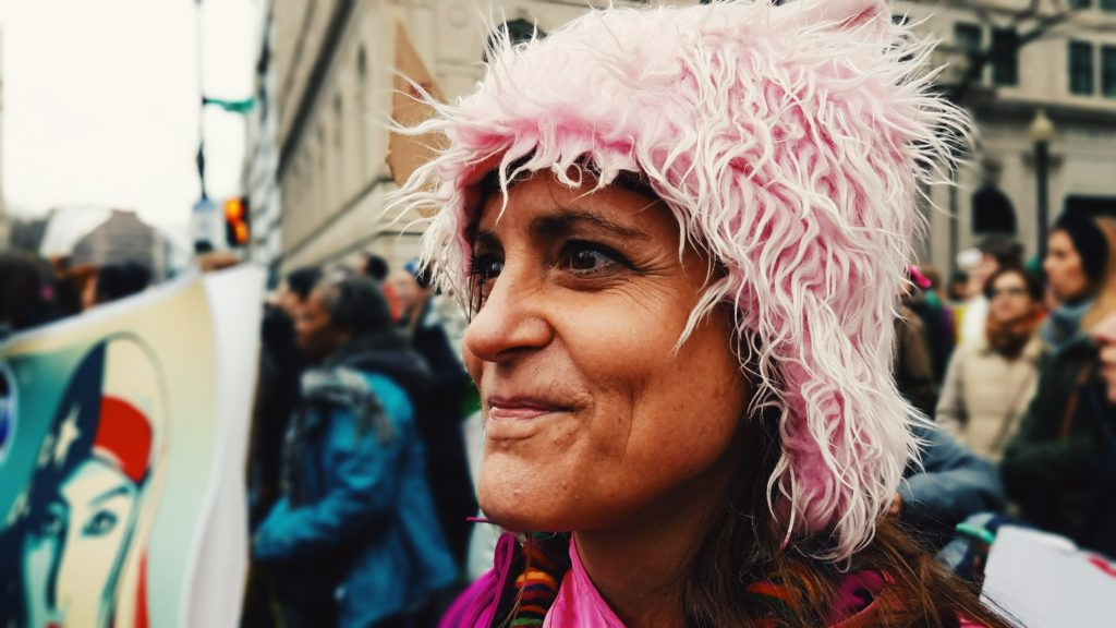 A participant in the Women's March on Washington on Saturday, January 21.