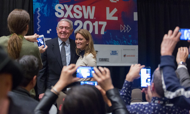 "Dan Rather poses with NBC's Katy Tur at SXSW 2017. They had just participated in a panel called, ""The War at Home: Trump and the Mainstream Media."""