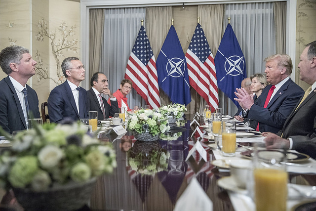 President Trump meets with NATO Secretary General Jens Stoltenberg in Brussels on July 11, 2018.
