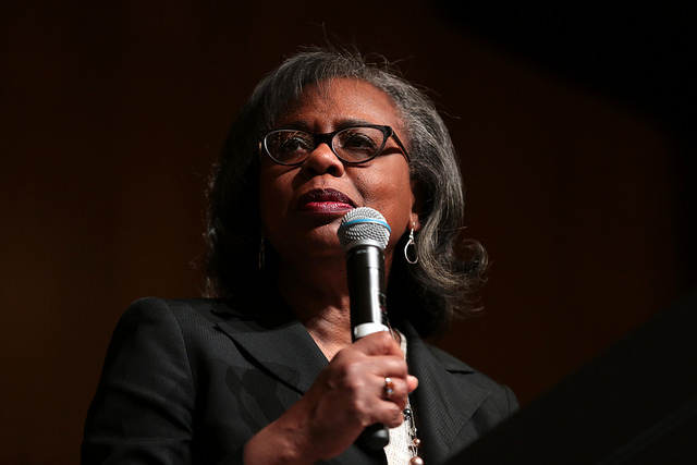Anita Hill speaking earlier this year. In 1997, she talked with Diane about the experience of testifying against then-Supreme Court nominee Clarence Thomas.