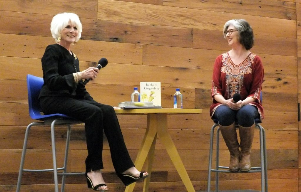 "Diane Rehm interviews Barbara Kingsolver about her new book, ""Unsheltered,"" at an event hosted by Politics and Prose bookstore on the campus of Sidwell Friends School on Wednesday, October 17."
